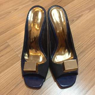 Vnc Blue Gold Peep Toe 37