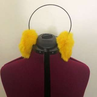 Yellow Fuzzy Earmuffs