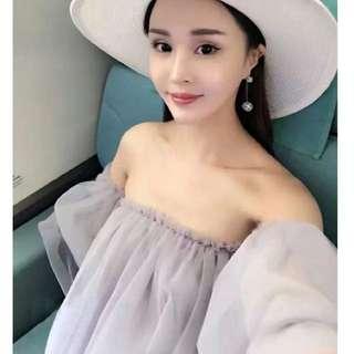 A9396韓版甜美一字領蓬蓬洋裝