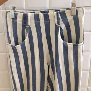 Blue and white striped high waisted stretchy pants