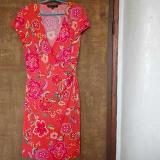 Tangerine Floral Dress