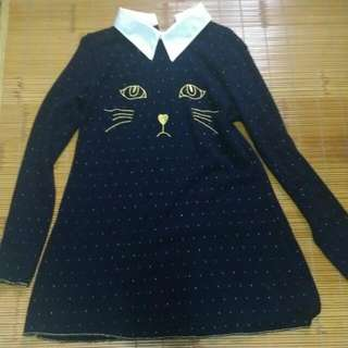 貓咪臉小洋裝