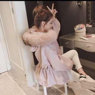 粉紅大毛收腰外套