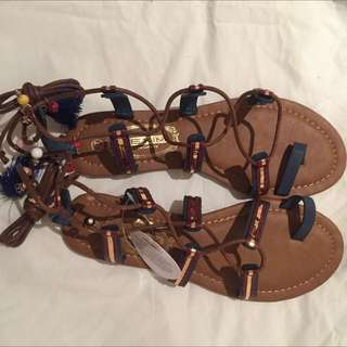 Leather Pom Pom Sandals Size 38