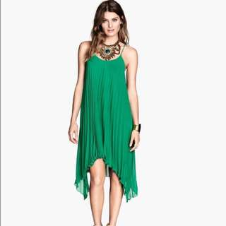 H&M Green Pleated Dress