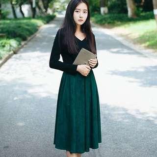降價!復古綠麂皮半身裙
