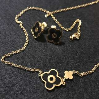 Channel Earings And Necklace