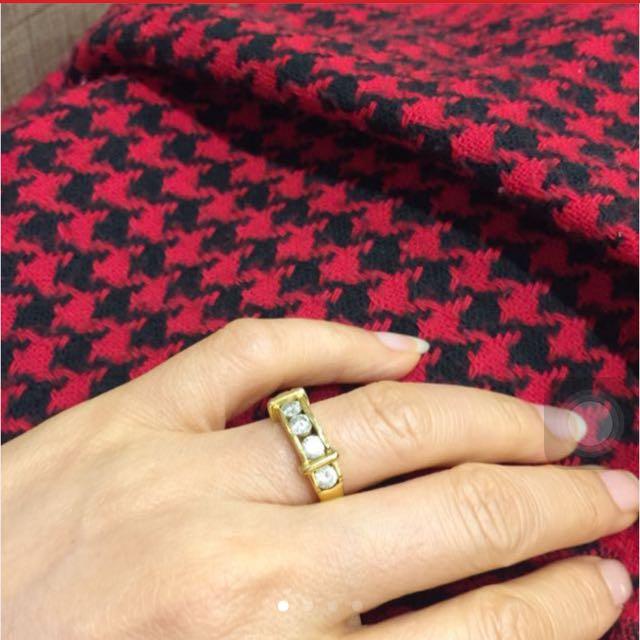 18KGP 天然梯鑚造型戒指