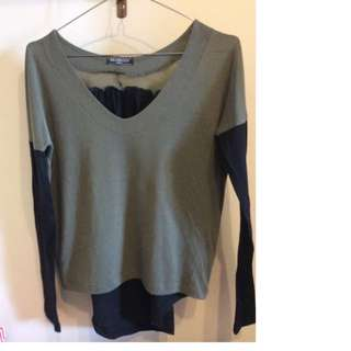 Small Green/black Long Sleeve Top