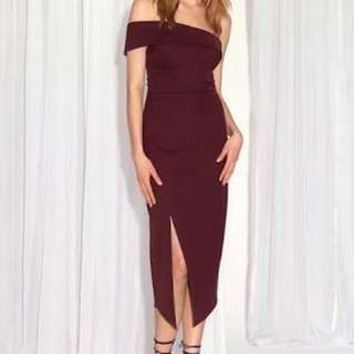 Sheiks Valentine Dress In BURGUNDY Size 10