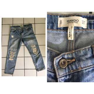 MANGO Cropped Ripped Jeans