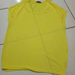 亮黃色薄針織長版上衣