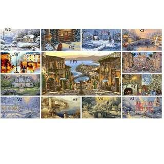 大人小孩都愛畫的DIY 數字油畫新款上市 風景 雪景 手繪油畫 掛畫 壁畫 無框畫 40x50