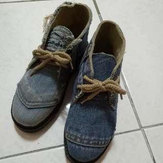 丹寧中筒鞋36