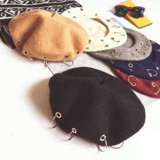 鐵環圈圈貝蕾帽
