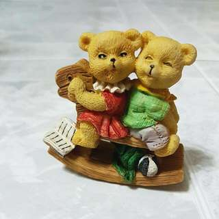 Two Bears On A Rocking Horse Vintage Ornament / Collectible