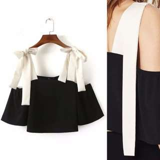 Stylish Off Shoulder Ribbon Strap Crop Top