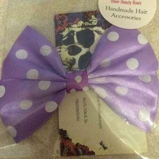 Light Purple Pokadotted Bow