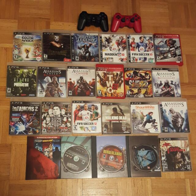 22 Ps3 Video Games Plus 2 Working Ps3 Controllers In Red And Black