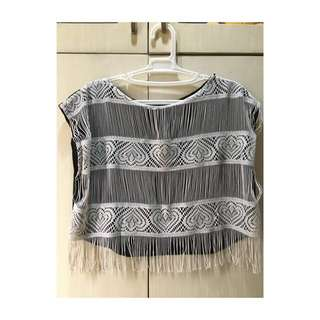 Black Boho Top w/ White Tassels