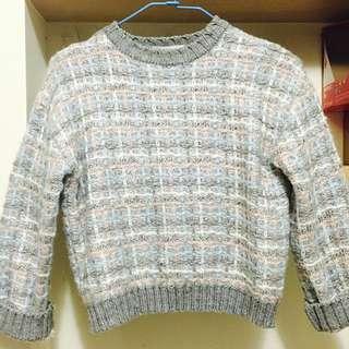 韓製粉色系折袖短版毛衣-東區購入