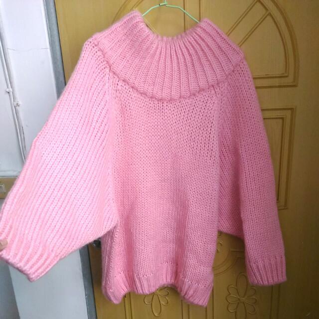 (全新)甜美一字領細針織毛衣