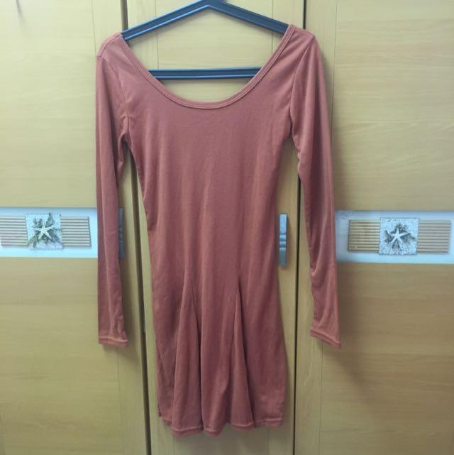 橘色連身裙(全新)