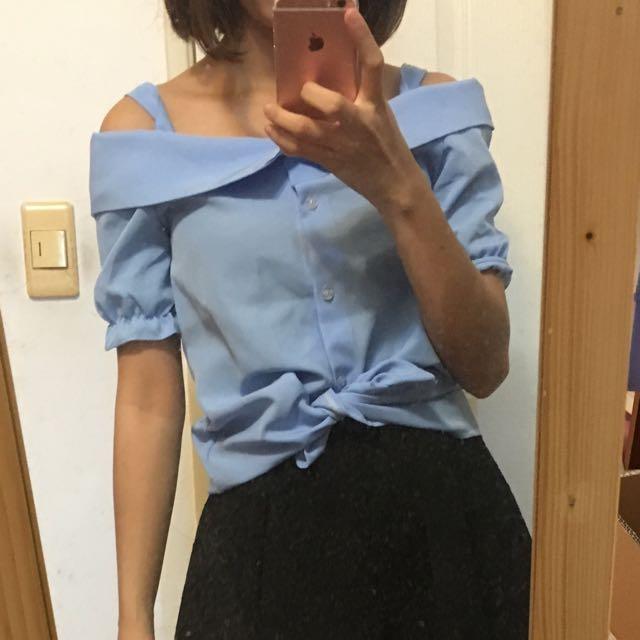 藍色露肩襯衫上衣