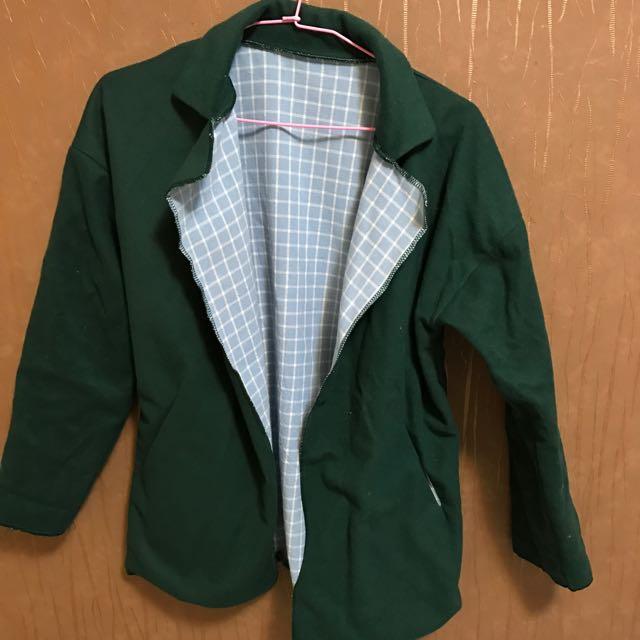 墨綠布外套