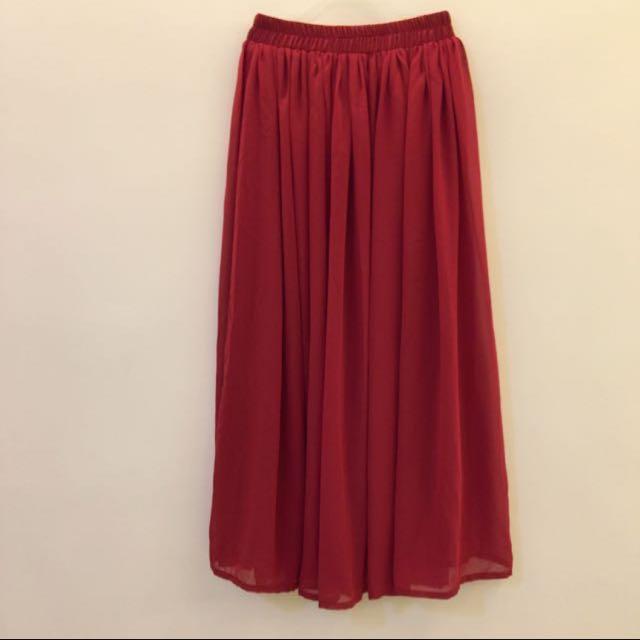 紅色雪紡長裙