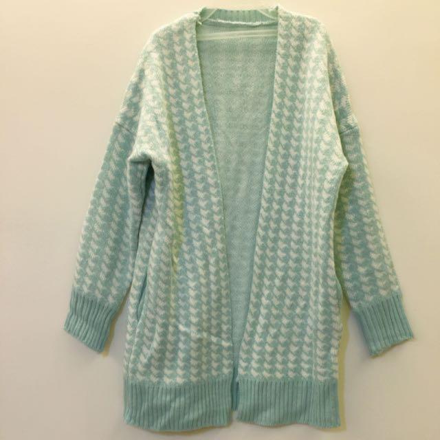 藍綠色千鳥紋開襟外套