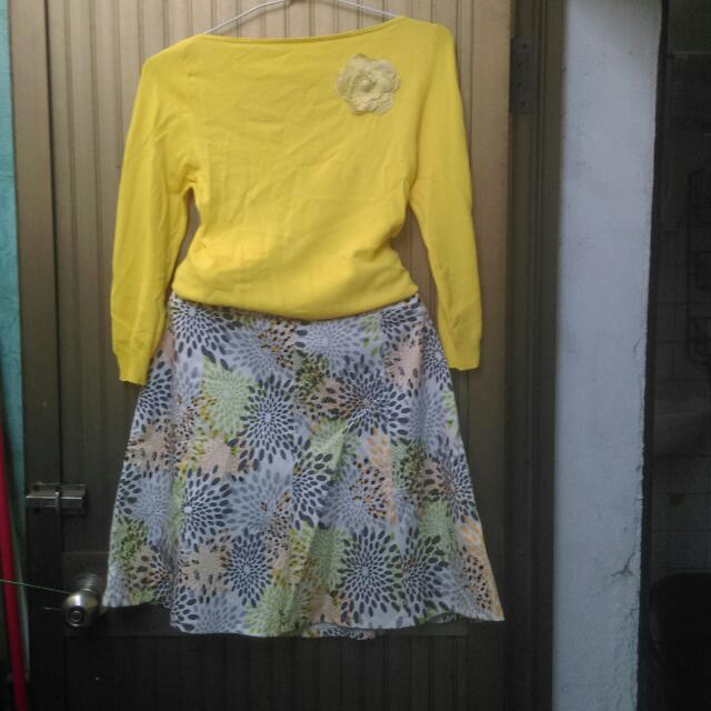 全新,針織上衣,8分袖,顏色為圖片色 。  中膝裙,8片裁剪。簡約大方,開春的顏色。裙子約28-39腰可穿,腰圍可免費休改尺寸。上衣加裙子共200。