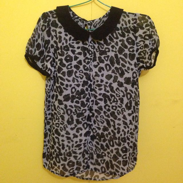 Animal Print Blouse In Black