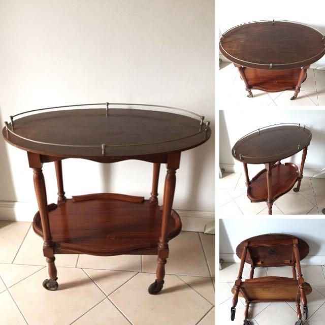 Art Deco Wooden 2 Tier Tea Trolley, Butlers Drinks Trolley