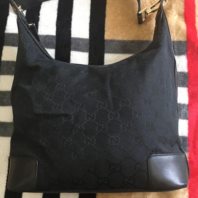 Authentic Gucci Black Bag GG Canvas Creole