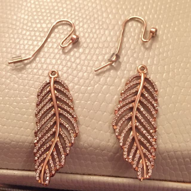 authentic pandora rose silver feather earrings