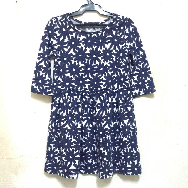 Blue Printed Dress For Kids