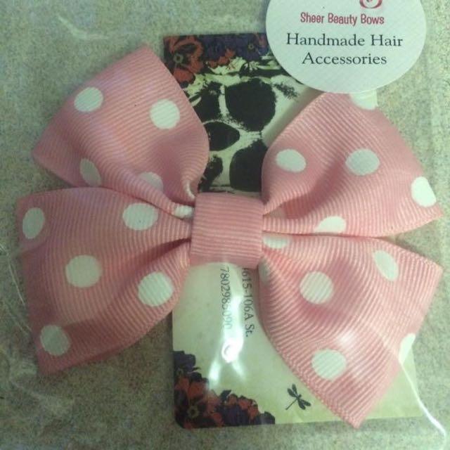Blush Pink Pokadotted Bow
