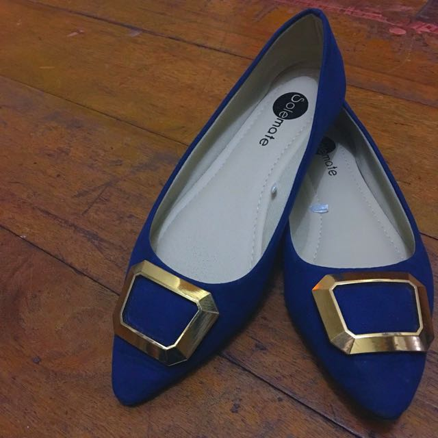 Buckled Blue Pointy Flats