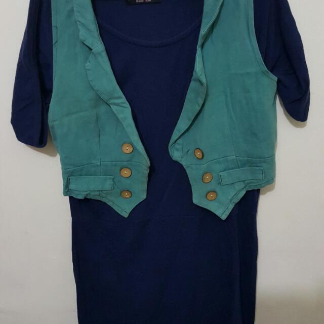 Dress Kaos Warna Biru Dongker + Outer