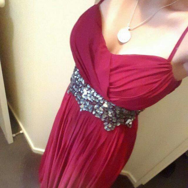 Full length red dress