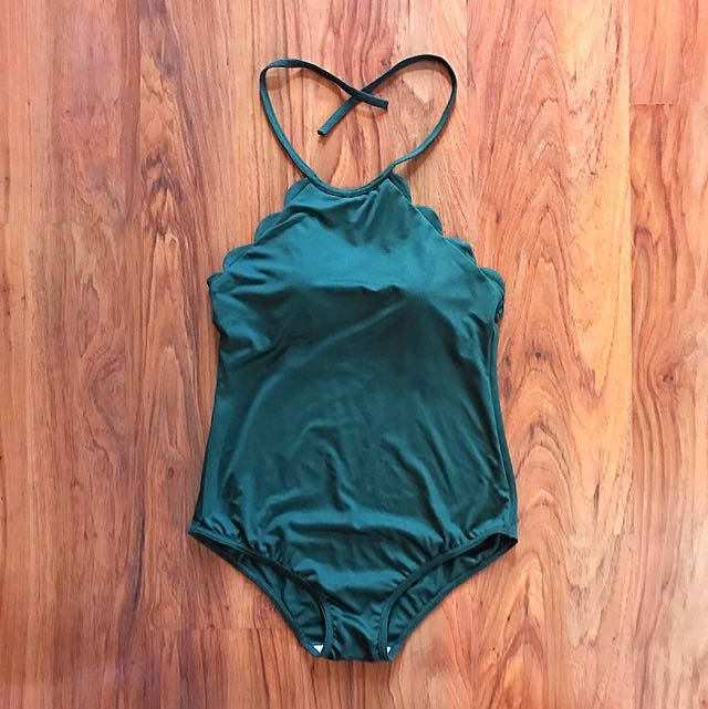 Green Scallops One Piece