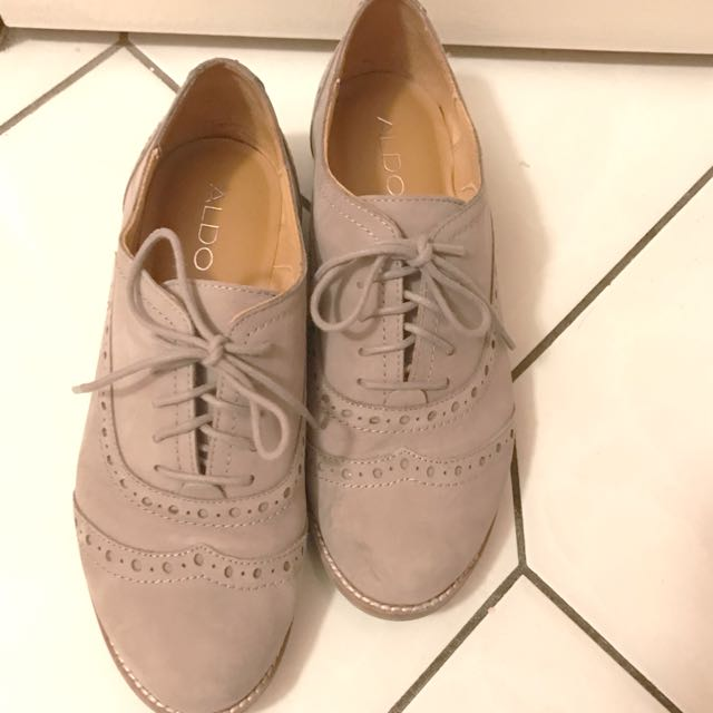 Grey Leather Oxfords
