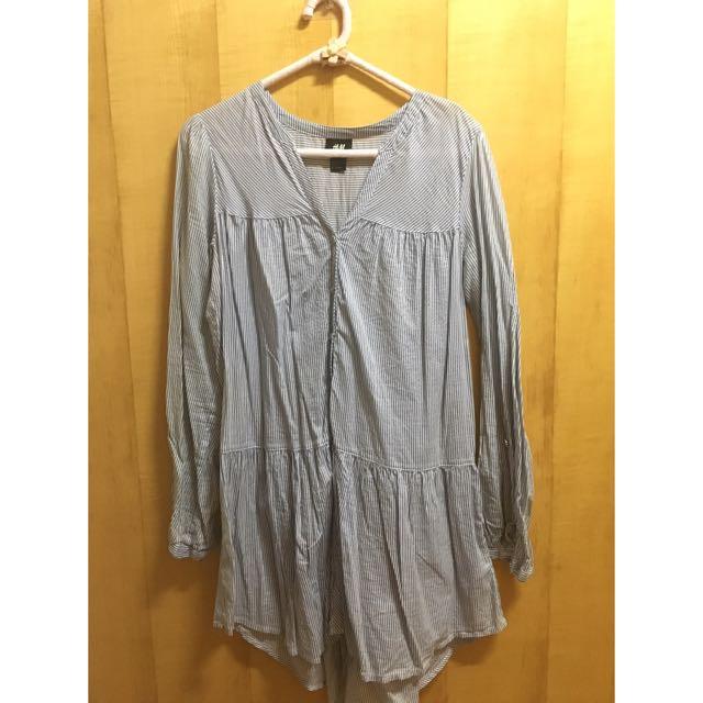 H&M藍白條紋舒適長袖上衣