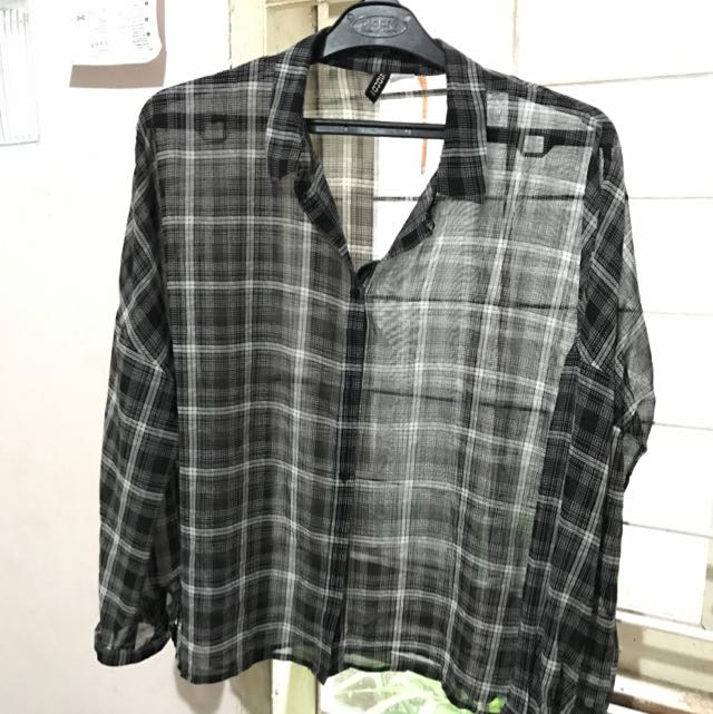H&M Checkered Black Shirt