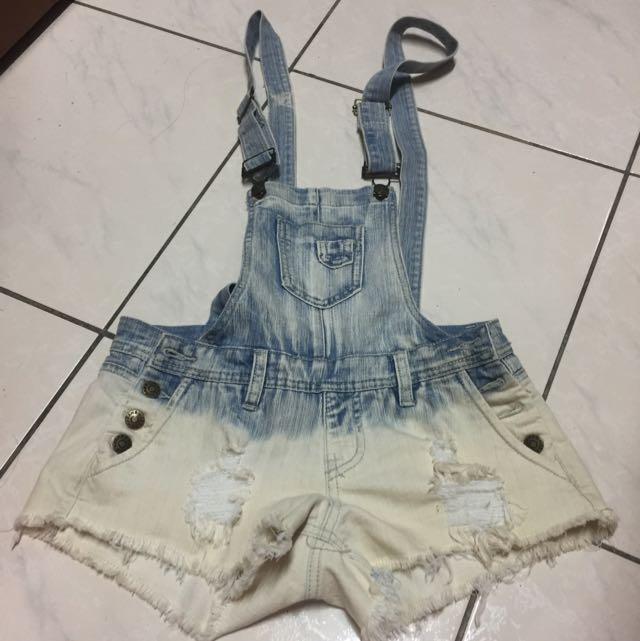 (二手)淺藍吊帶褲M