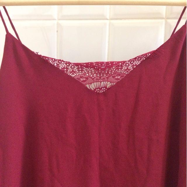 Maroon dark pink lace singlet