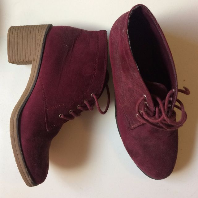 Maroon dark red/purple heel boots