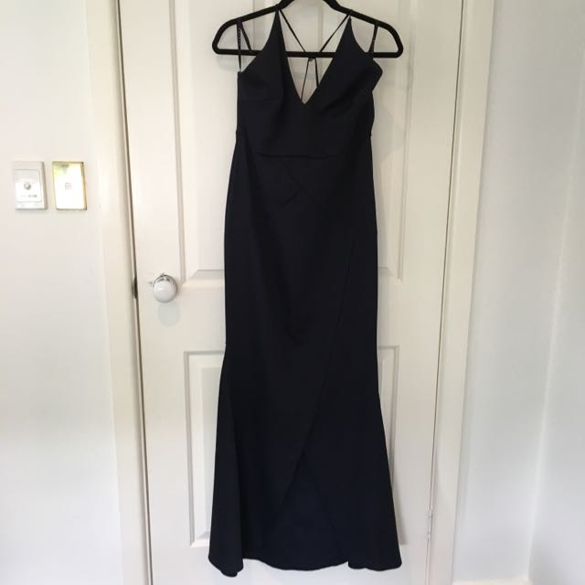 Navy Fishtail Maxi dress