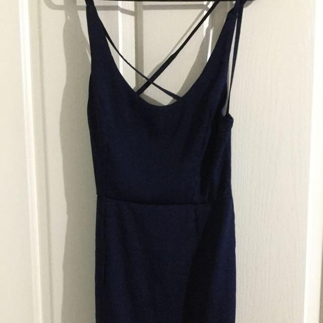 Navy Open Back Dress